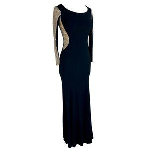 Xscape Black Gown Illusion Beaded Nude Long Sleeve